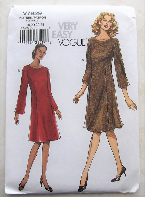 1975e7f10f7a1 Dress Sewing Pattern UNCUT Vogue V7929 Sizes 18-24 Plus Size in 2019 ...