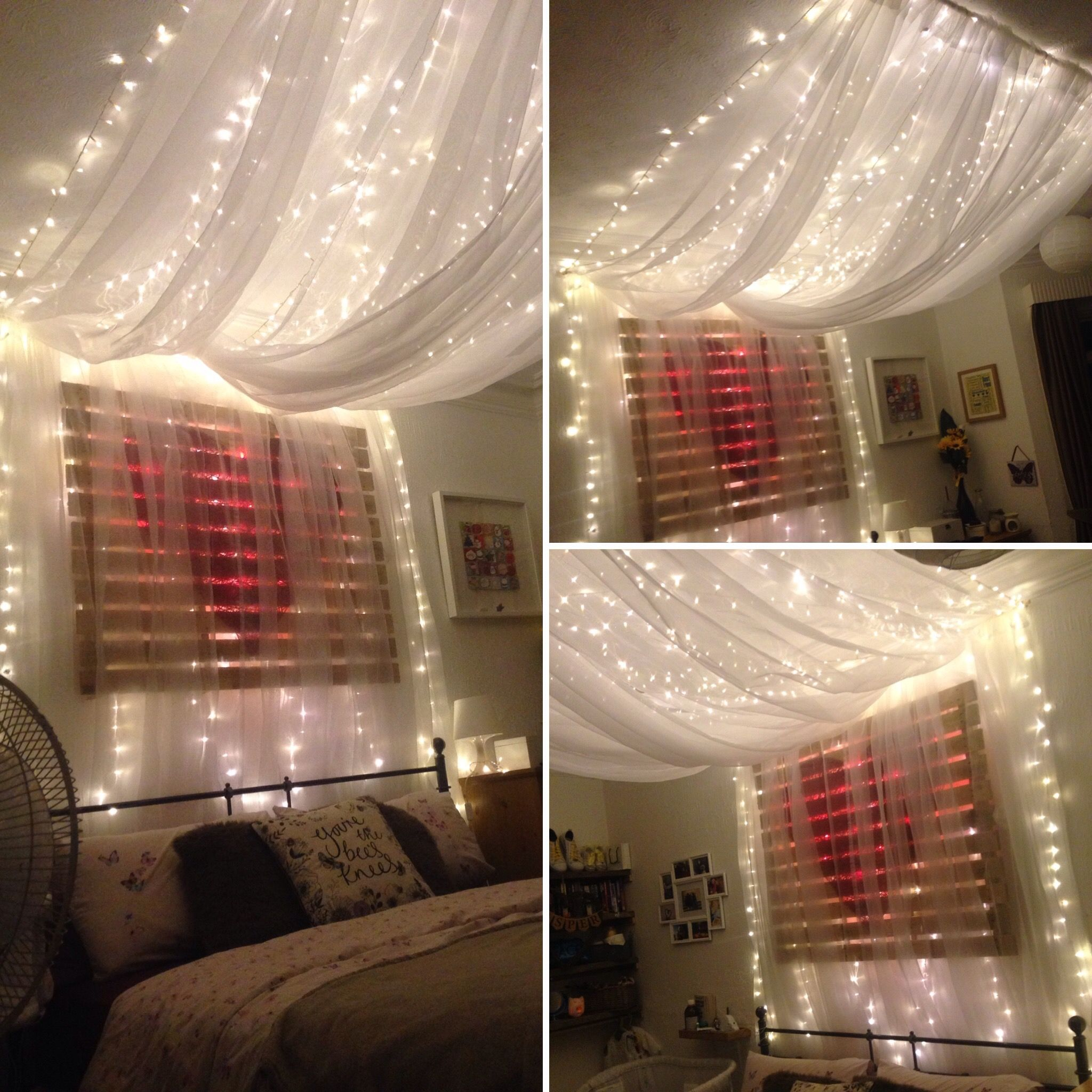 Fairy light bed canopy hung from ceiling to give effect of for Canopy over bed