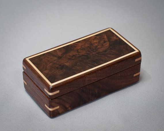 Small Wooden Box Collector Decorative Walnut With Burl Lid The 1012 008 On Etsy 85 00