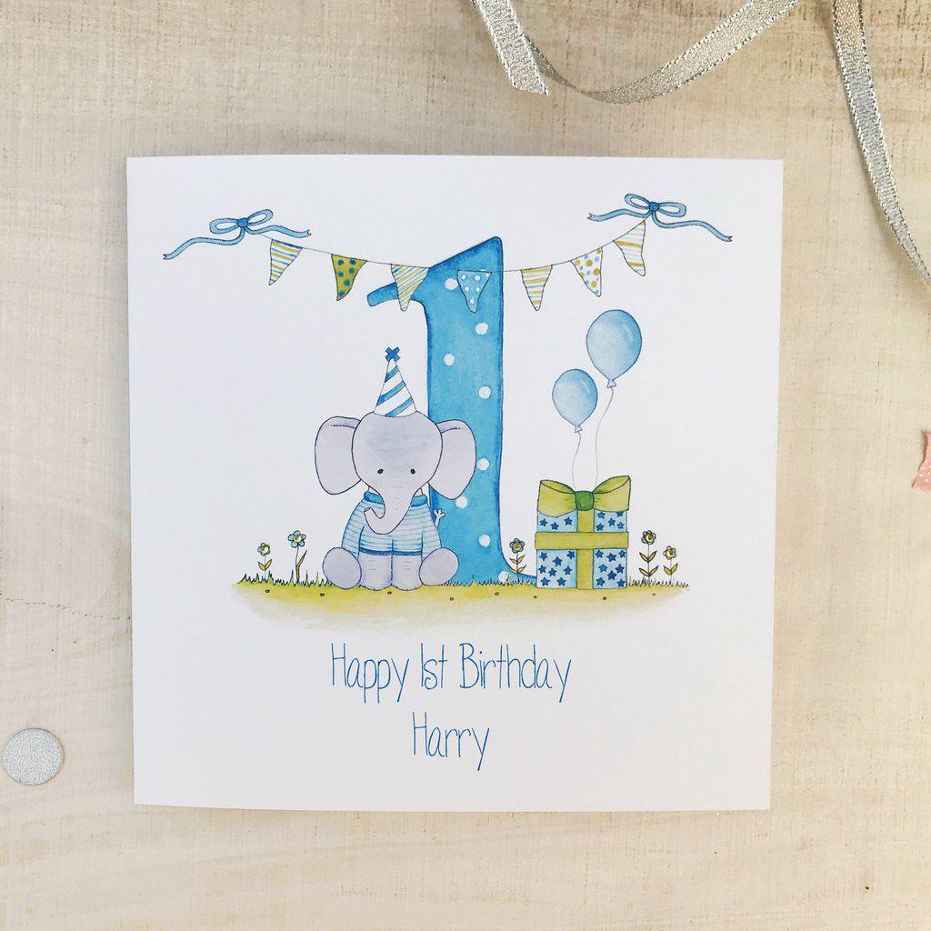 Personalised Boys 1st Birthday Card Elephant 1st Birthday Cards Old Birthday Cards First Birthday Cards