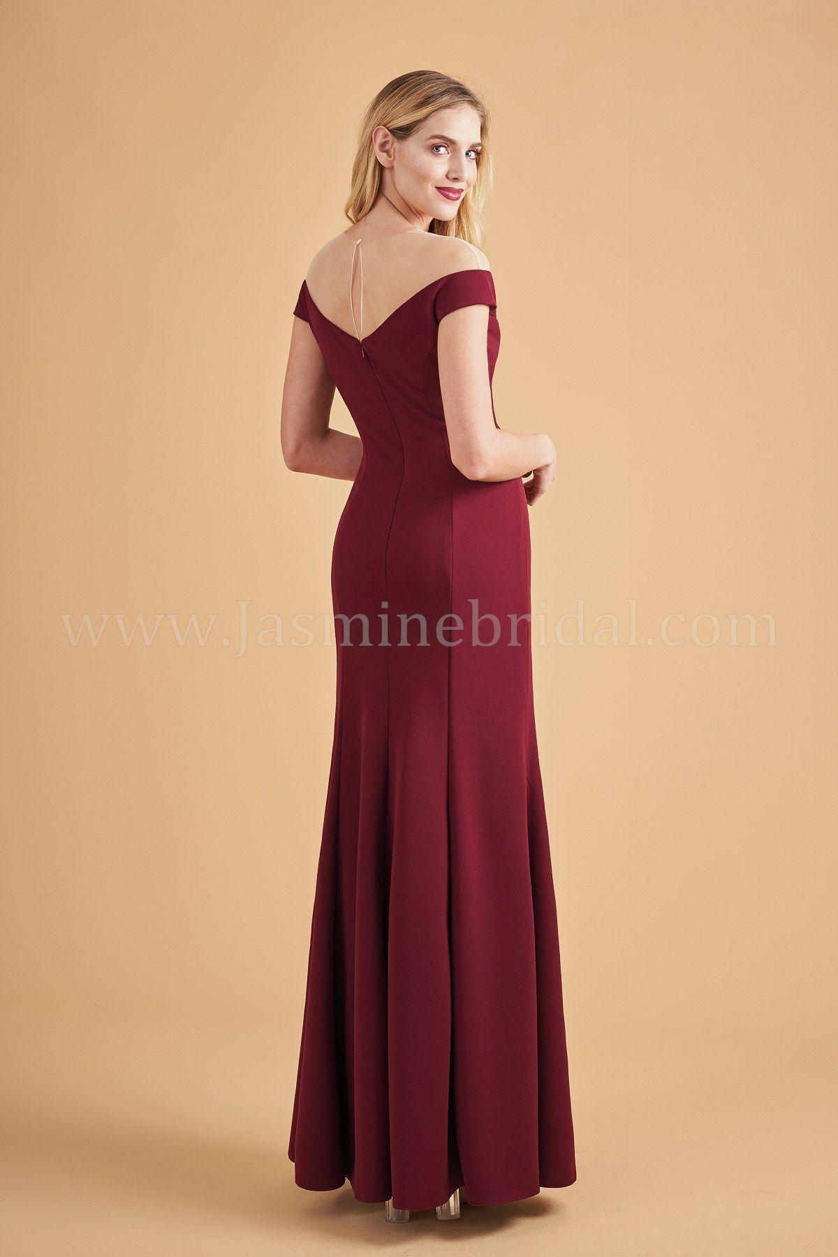 L portrait illusion neckline stretch crepe long bridesmaid