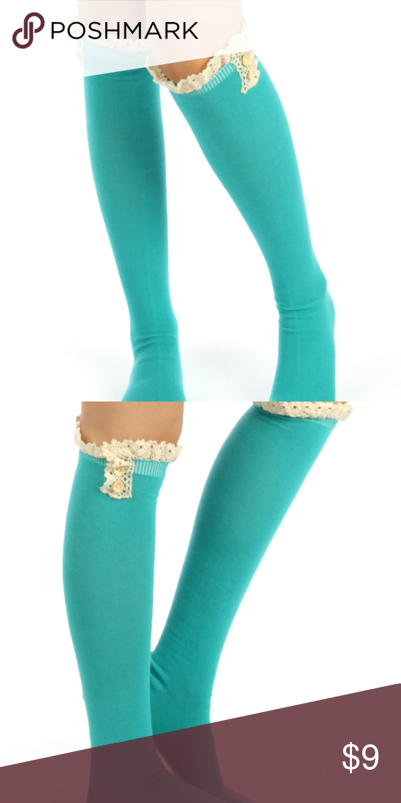 7b542395029 BOUTIQUE cotton knee high socks Cotton knee high lace top socks with  buttons You can pair
