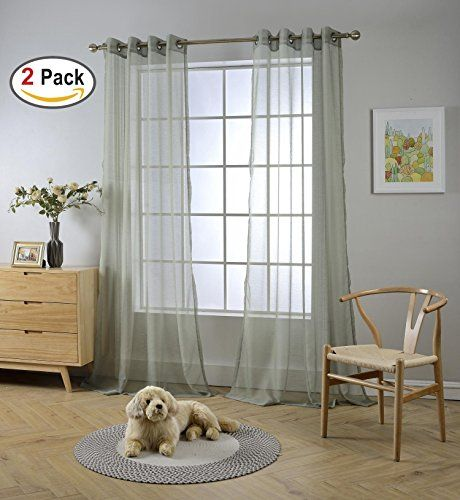 Miuco 2 Panels Grommet Textured Solid Sheer Curtains 84 Inches Long For Living Room 2 X 54 Wide X 84 Long Sage Read More At Th White Paneling Sheer Curtains Grommet Curtains