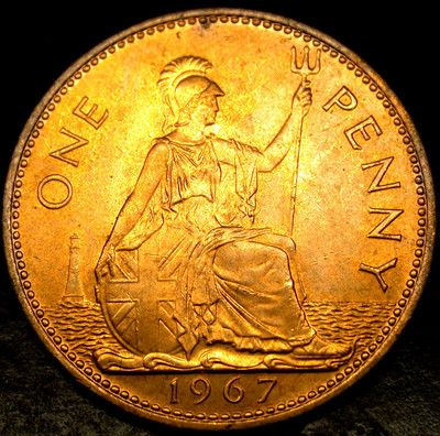 1967 GREAT BRITAIN Large Penny Big Cent Britanica /& Her Trident UNCIRCULATED GEM