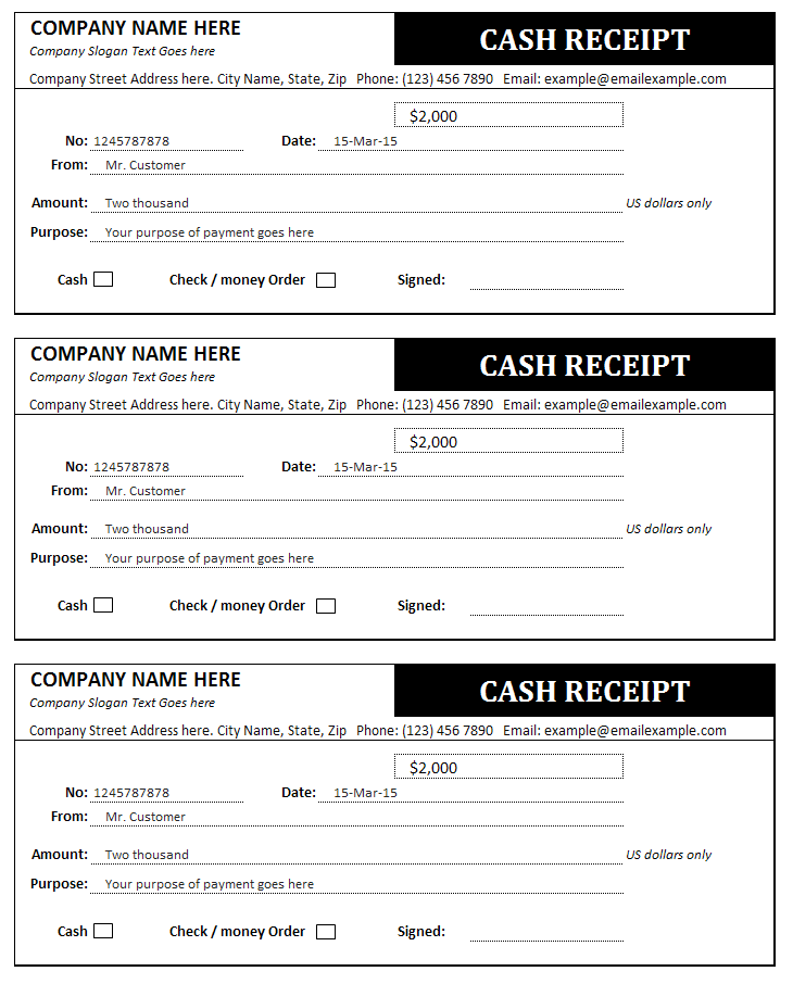 Cash Receipt Template Bills Invoices and Receipts – Cash Receipts Template
