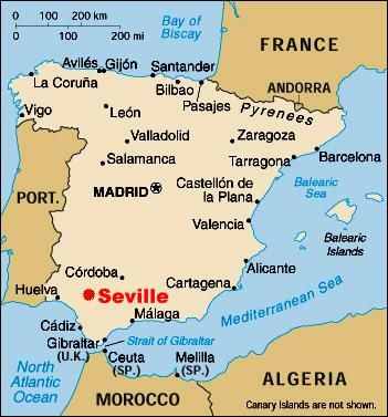 Map Of Spain Granada.Seville Spain Obsessed With Maps Map Of Spain Granada