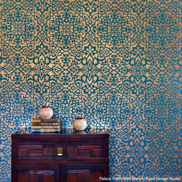 How to Stencil a Wallpaper Look for Less! | Dreamy Decorative Walls | Wallpaper for home wall ...