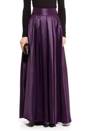 d28050b9baa8e On ideel: Purple Satin Silk Pleated Long GRACIA Full Satin Maxi ...