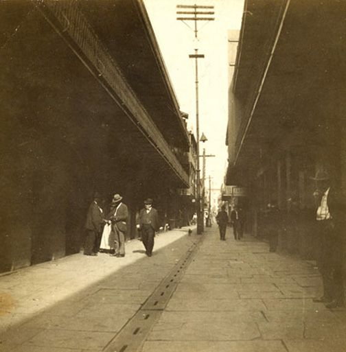 Exchange Alley in 1912; then called Exchange Place a thriving commercial center