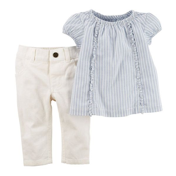 cefc4c862 Carter s® Short-Sleeve Smocked Top and Pants Set - Baby Girls newborn-24m -  JCPenney