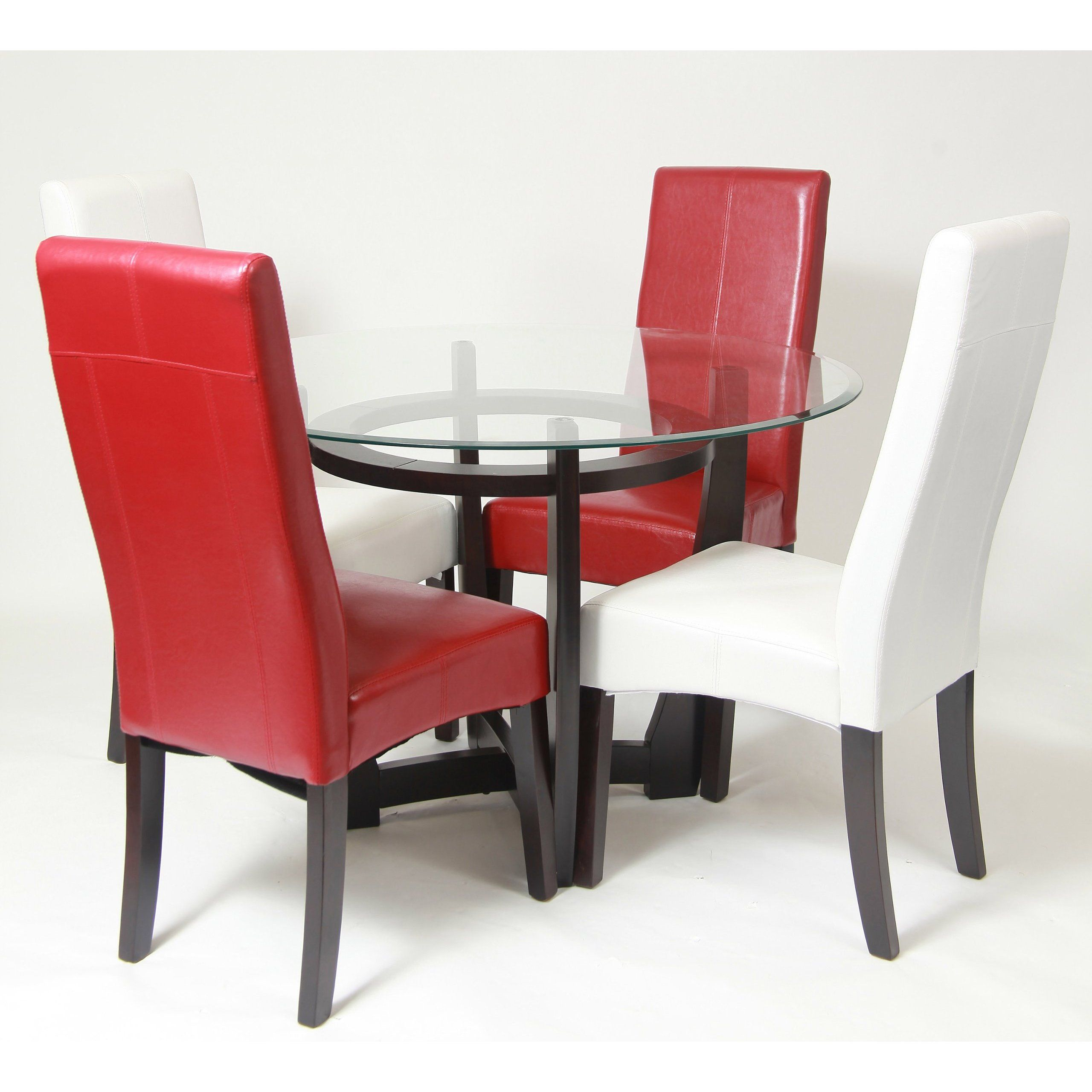 FurnitureMaxx Beveled Glass Top Dining Table With 4 Parson Chairs ...