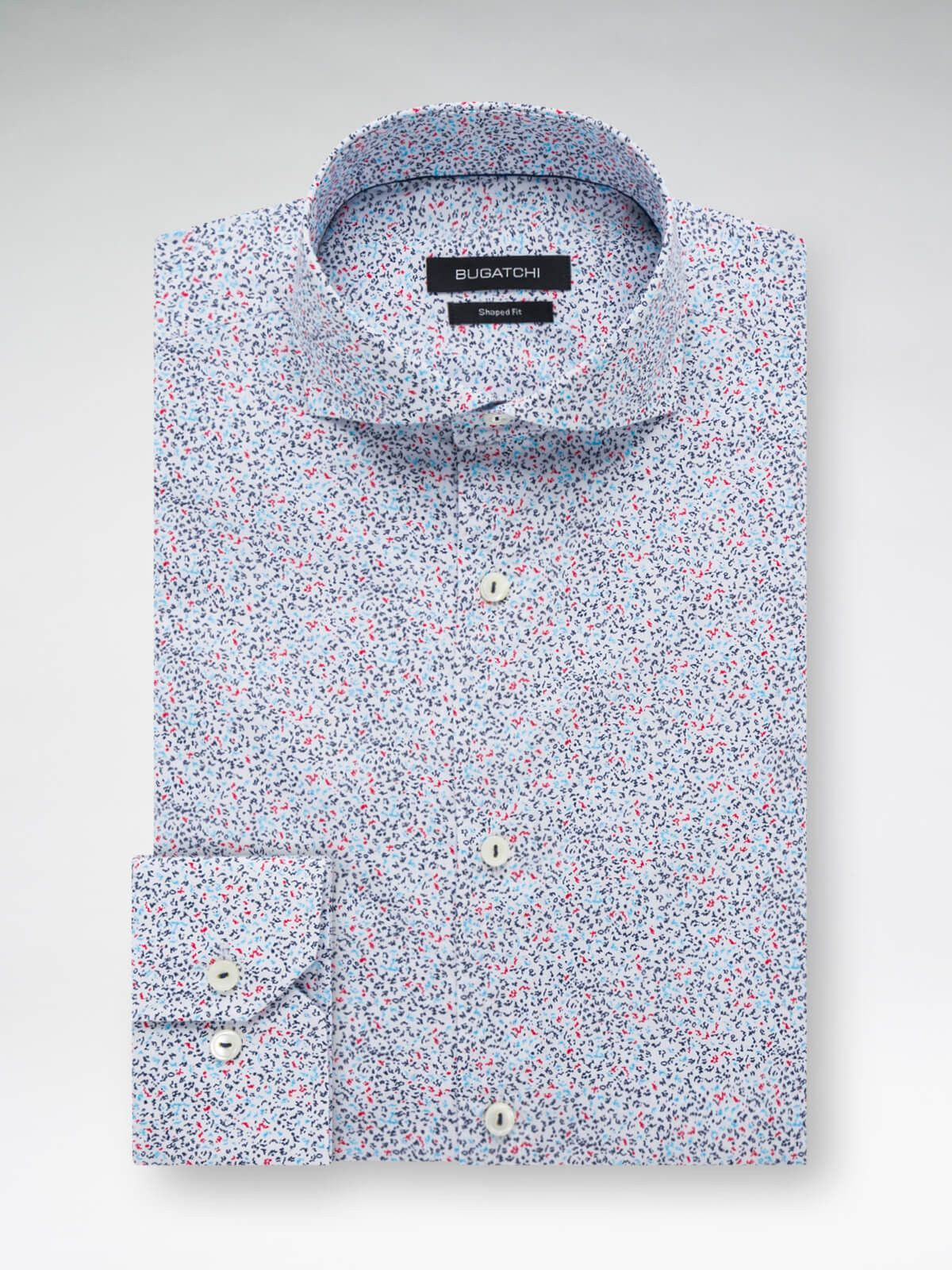 Bugatchi Mens Printed Floral Long Sleeve Shaped Fit Button Down Shirt