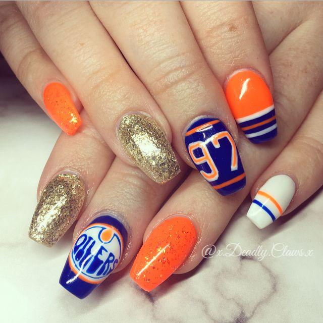 Oilers Nails Nails Gel Nails Acrylic Nails Nail Art Edmonton Oilers