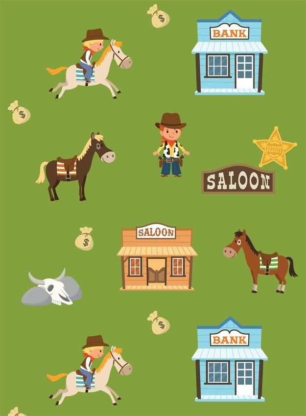 Papier peint enfant cowboys pour chambre cowboy cow boys - Tapisserie chambre d enfant ...