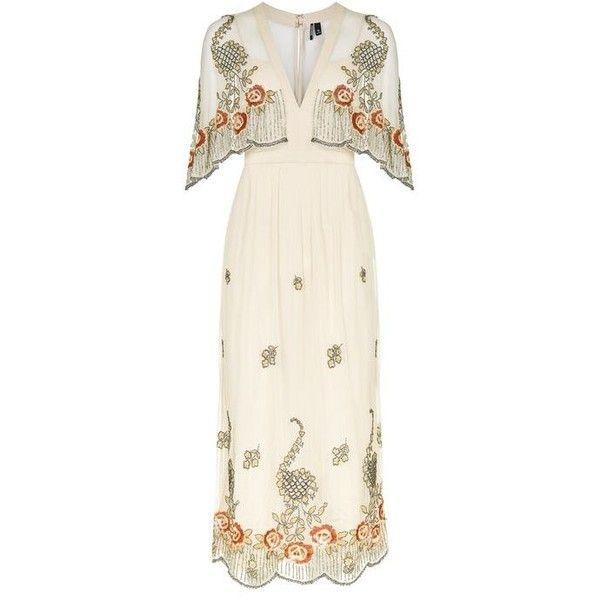 Topshop Embellished Cape Dress (850 BRL) ❤ liked on Polyvore featuring dresses, topshop, topshop dresses, midi dress, calf length dresses, mid calf dresses and white dress