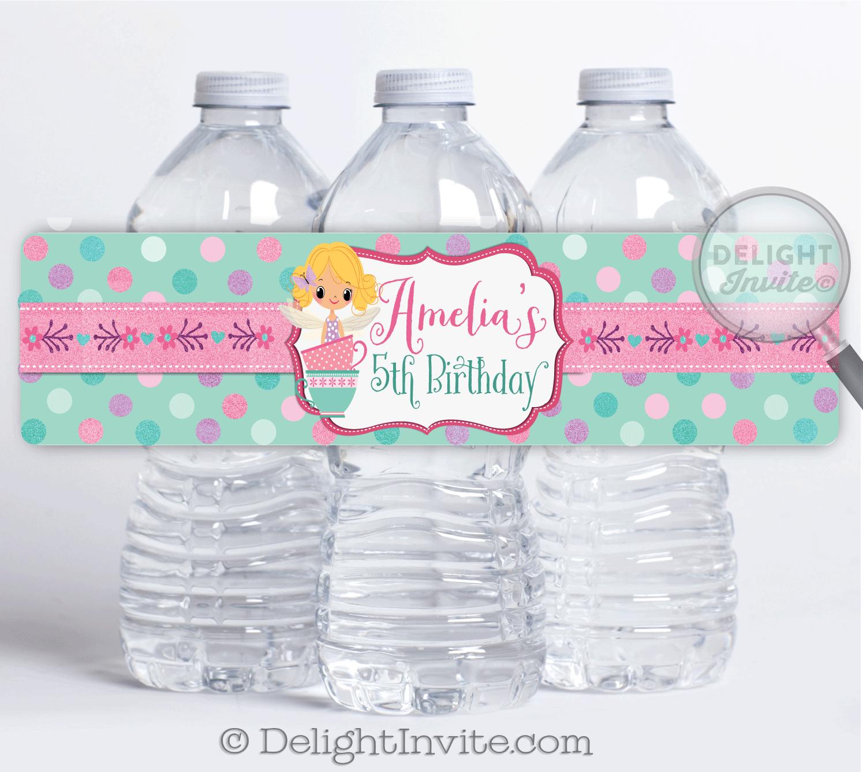 Tea Party Fairy Water Bottle Labels   Pixie Fairy Tea Party Birthday ...