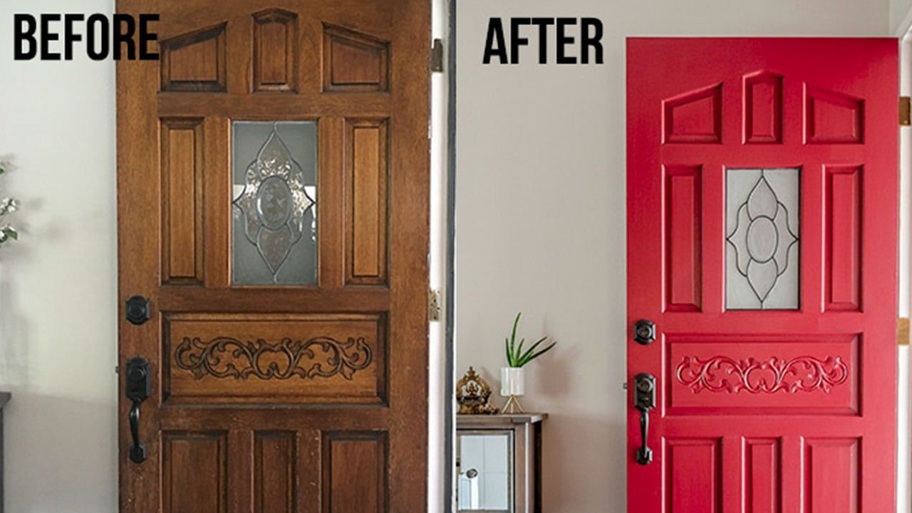 How To Paint A Front Door Without Removing It The Lazy Way Painted Front Doors Paint Front Door Diy Front Door Makeover