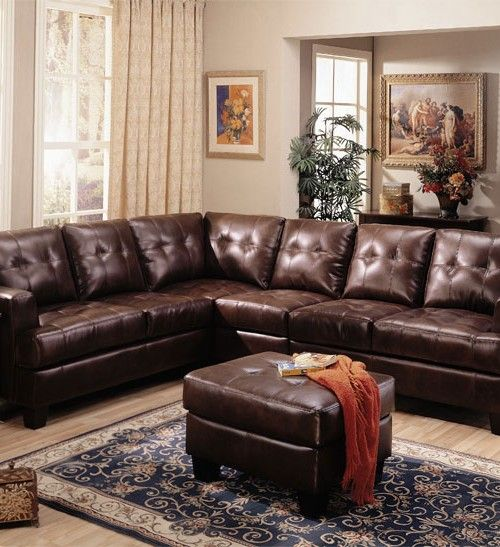Brown Leather Sectional Sofa With Recliner