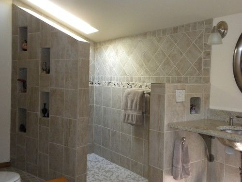 Walk In Shower Remodel   Stunning Decoration 500x376 Doorless Walk In Shower Designs | Home Design Ideas