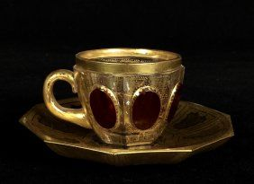 19TH CENTURY MOSER CUP AND DAUCER