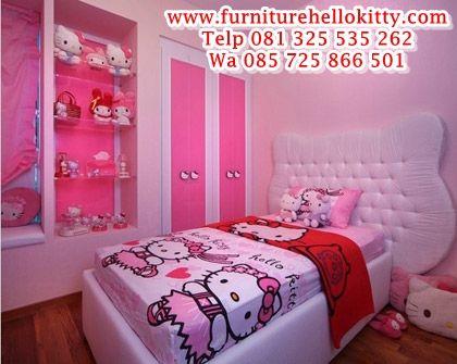 desain tempat tidur hello kitty, bentuk set kamar tidur
