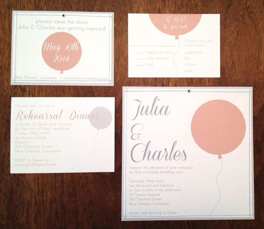A balloon-filled wedding celebration. Invitation suite by Layered Design.