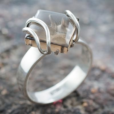 band ring silver stone modern sterling silver ring unique tension set silver ring silver band ring tension set Silver ring lemon quartz