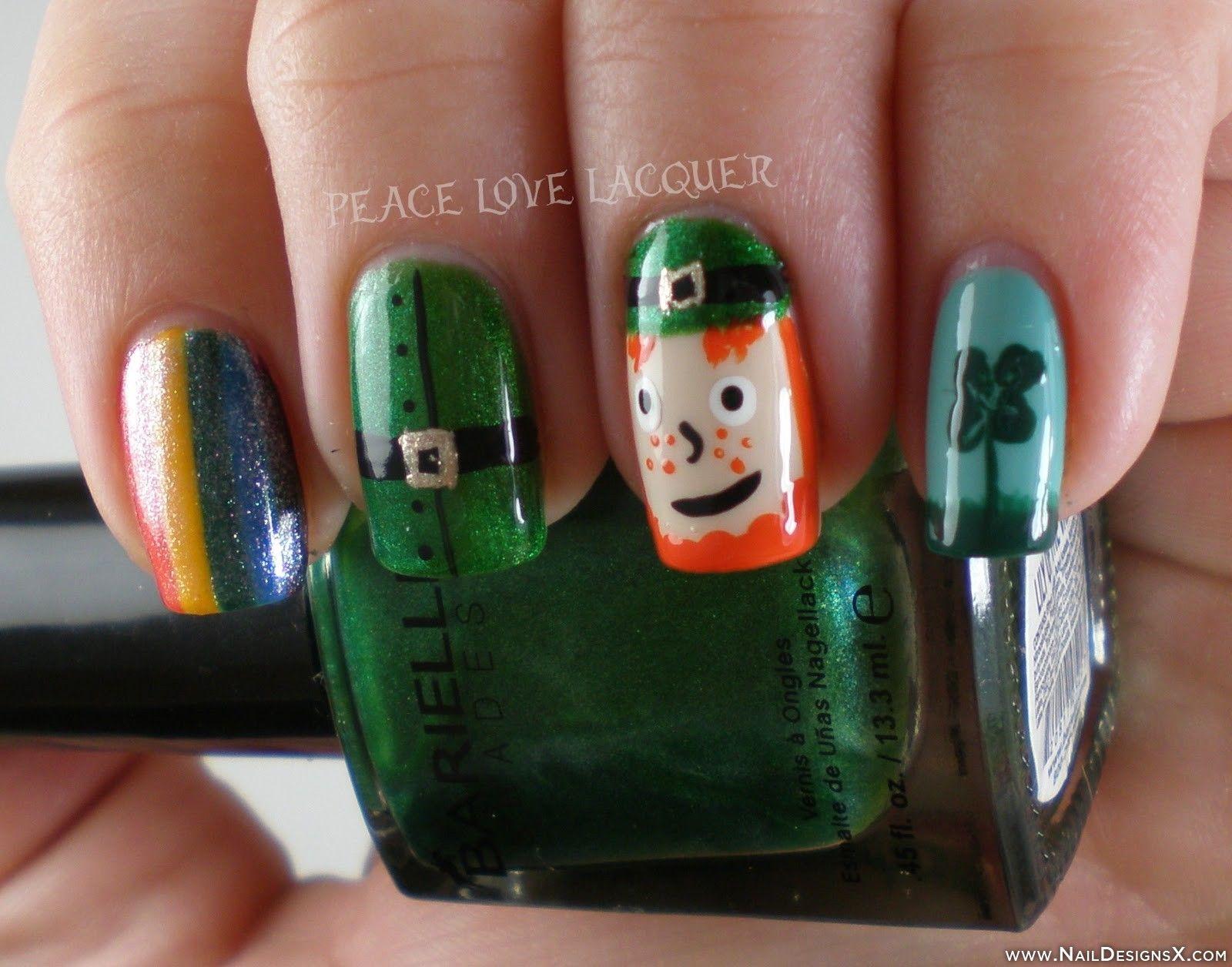 cute nail design for Irish day - Nail Designs & Nail Art   Holidays ...