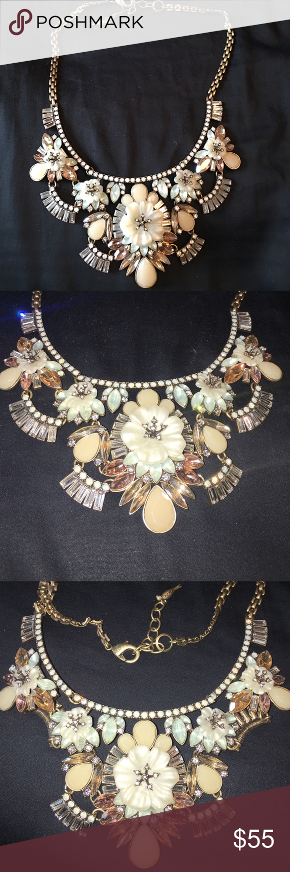 Chloe and Isabel necklace Such a statement piece! Retailed for $130- I believe. Floral necklace with light pink and turquoise colors. Only worn in the photo Chloe + Isabel Jewelry Necklaces