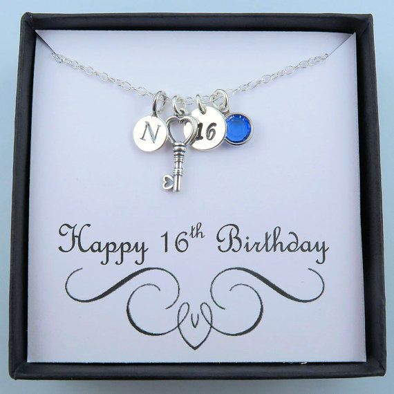 Personalized 16th Birthday Necklace With Message Card
