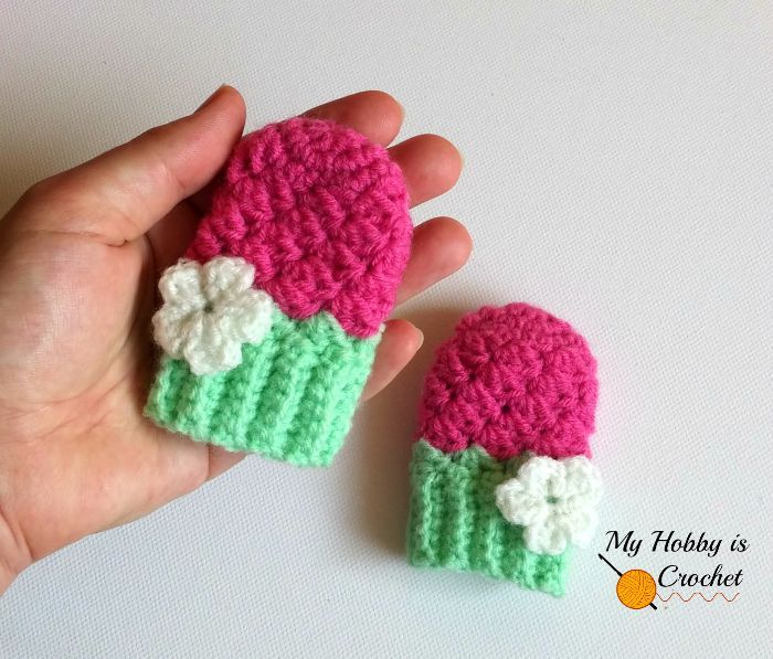 These Baby Mittens were designed to match the Blooming Berry Earflap ...