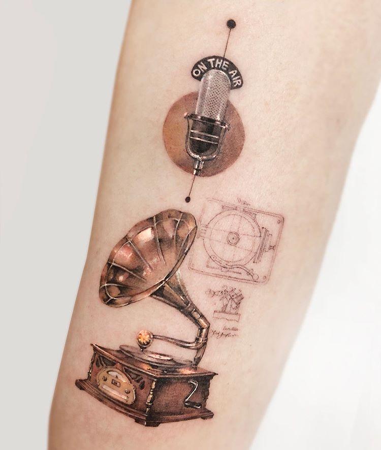Gramophone Tattoo Gramophone Tattoo Cool Small Tattoos Tattoos