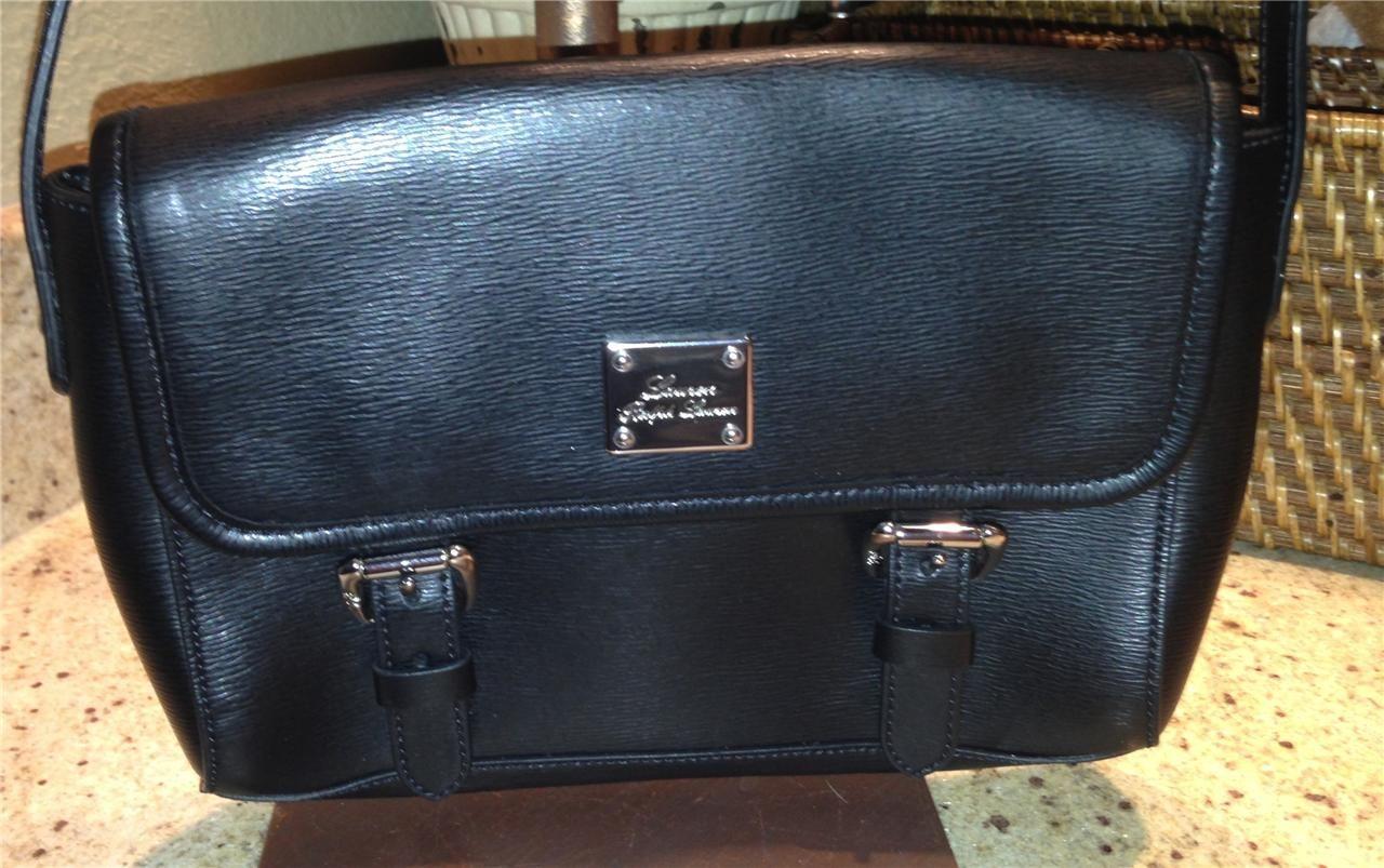NEW Auth Lauren Ralph Lauren Black Leather Cross Body Bag Purse