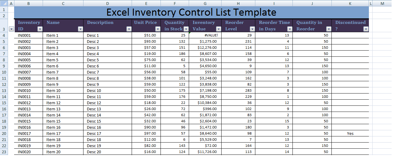 Excel Inventory Control List Template XLS – Excel Inventory List Template