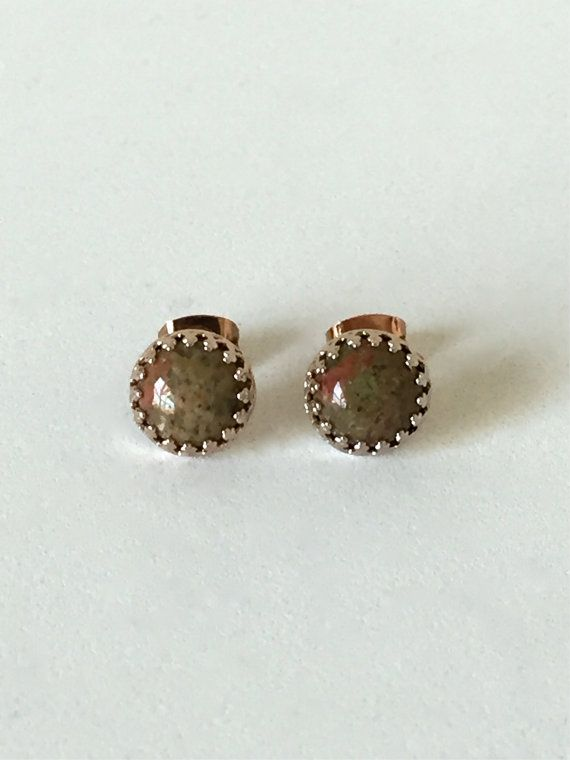 genuine unakite 8mm smooth round stud earrings with 14kt rose gold vermeil bezel and post by jewelrybyelisha on Etsy $37.00