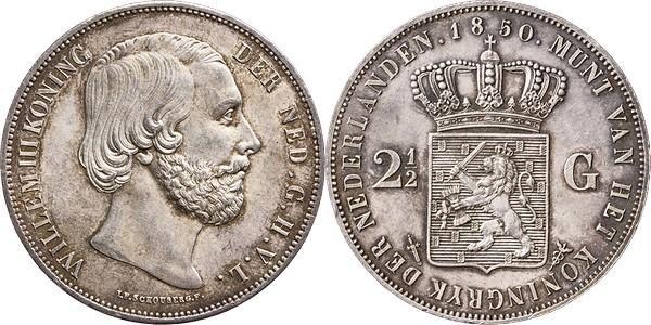 NumisBids: Schulman b.v. Auction 346, Lot 739 : KONINKRIJK DER NEDERLANDEN - WILLEM III 1849–1890 2½ Gulden of...