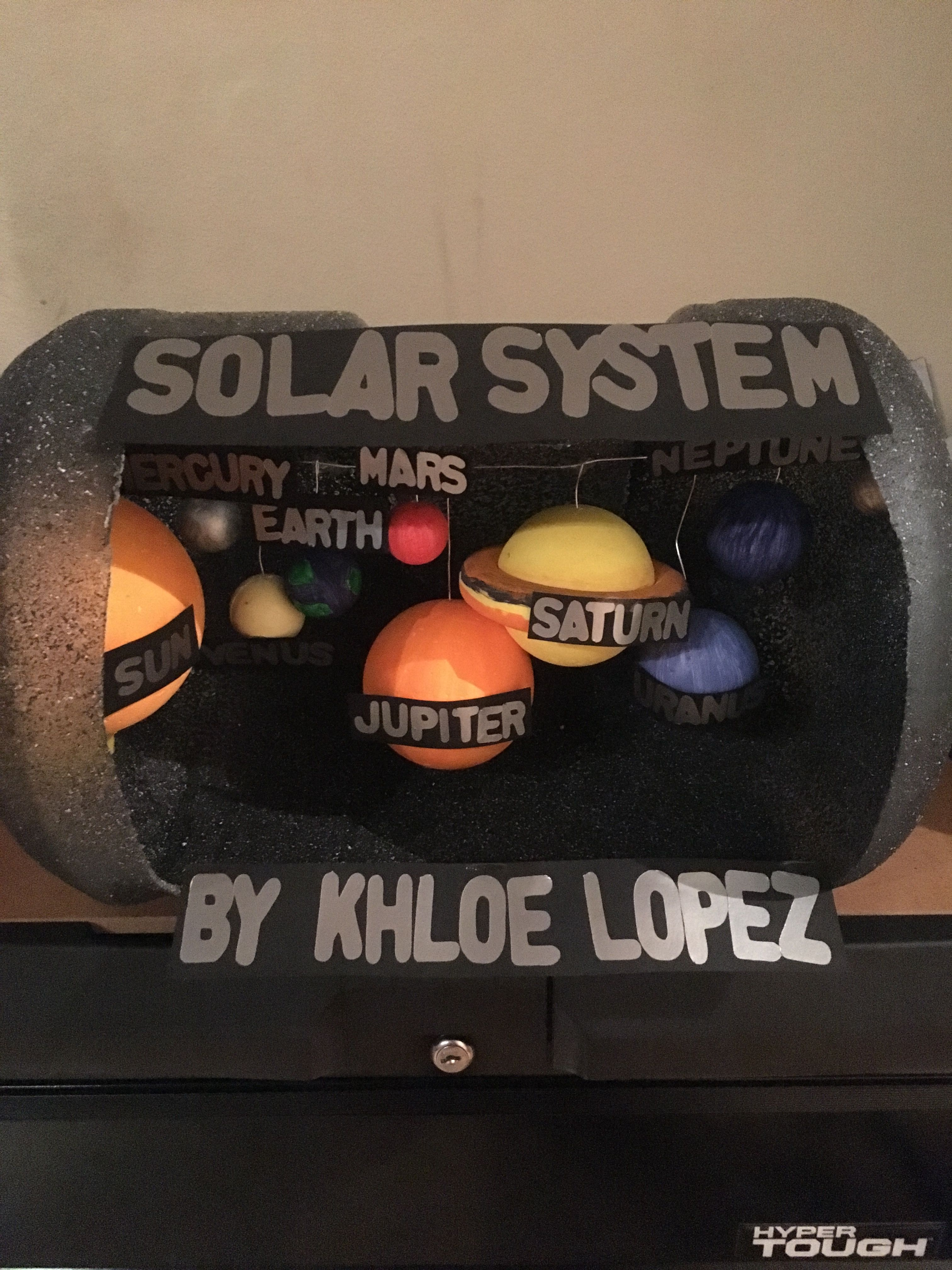Khloes 3rd Grade Solar System Project With The 5gallon