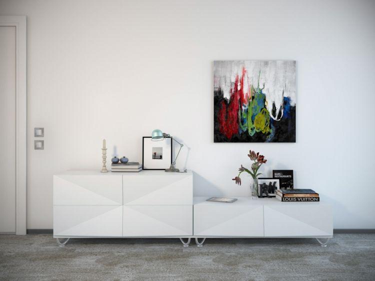 kreative Wanddeko Wohnzimmer Ideen Wandfarbe weiß buntes Wandgemälde