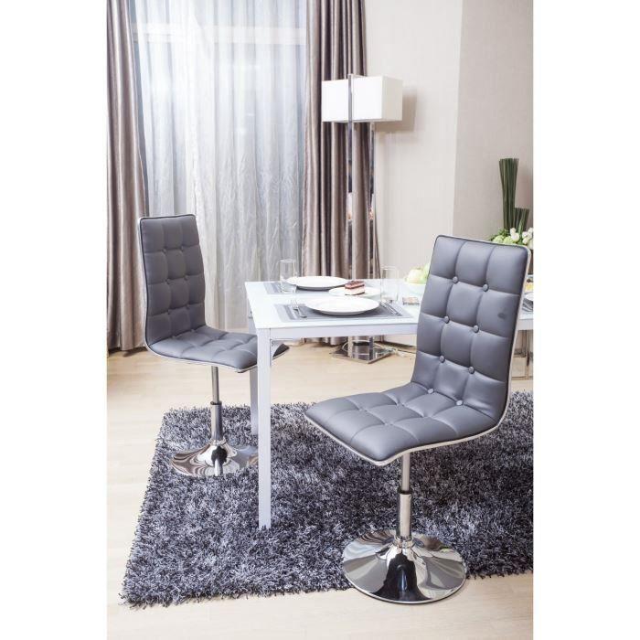Lot de 2 chaises de salle à manger grise Leaf - Salon \ Salle à - table de salle a manger grise