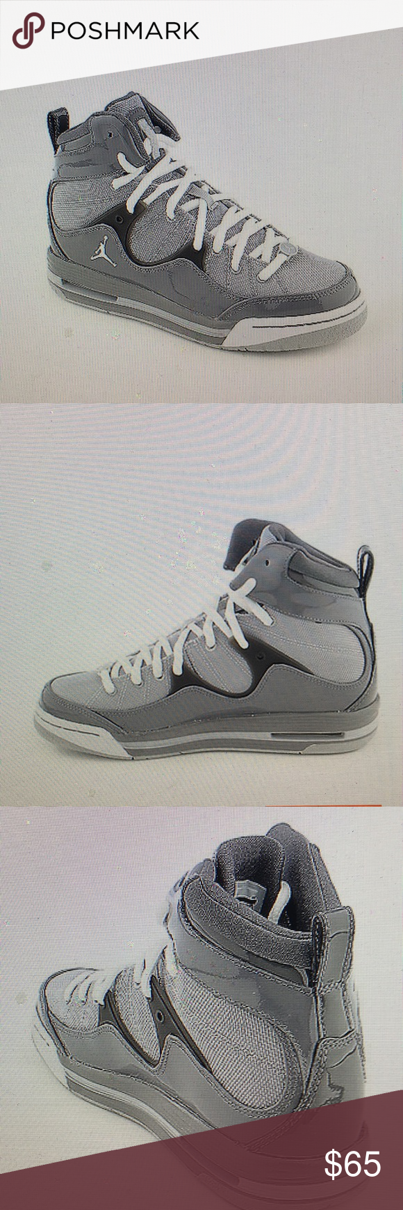 4c74f847d49b48 ... Black Light Safeguards - Graphite White  Jordan Flight TR 97 Grey White  basketball sneakers Patent mesh leather Viz air unit in heel ...