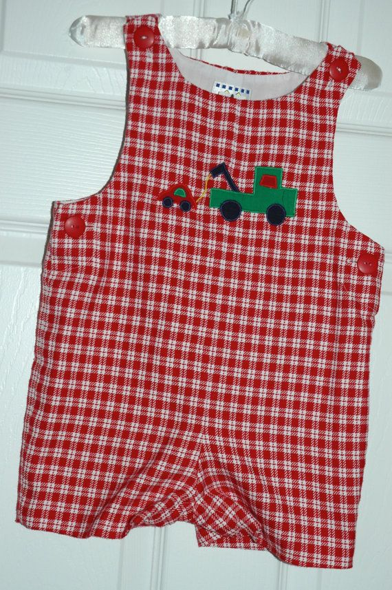 c1902aedbc9b Florence Eiseman red gingham romper with tow truck for sale- SOLD https