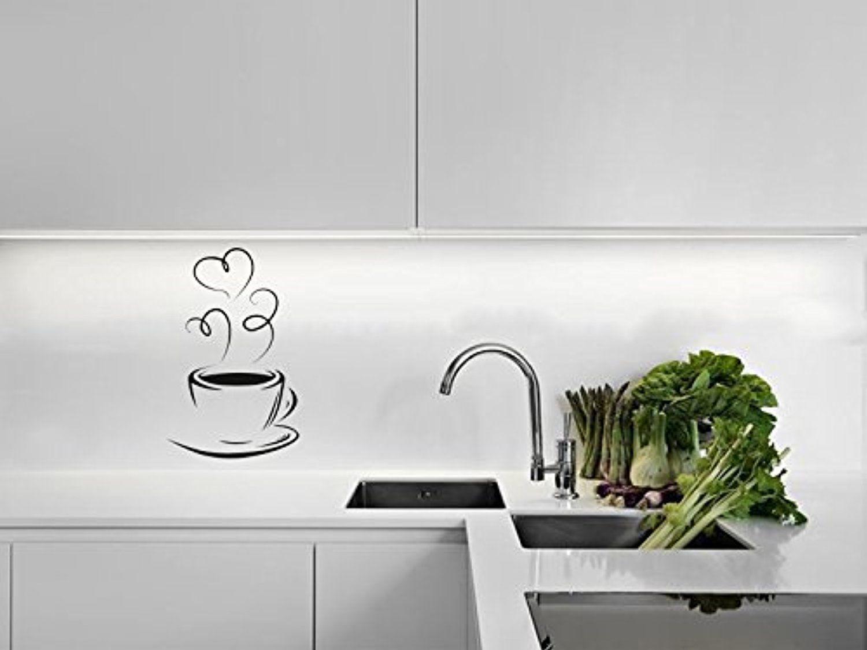 Coffee cup silhouette kitchen wall sticker modern decal wall art