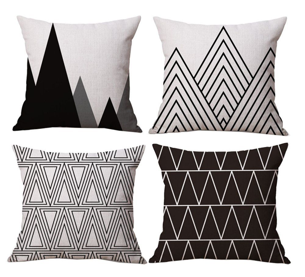 Amazon.com: Modern Simple Geometric Style Soft Linen Burlap Square Throw Pillow Covers, 18 x 18 Inches, Set of 4 (Black): Home & Kitchen   Modern Pillows   Geometric Pillows   Affordable Pillows  #ad