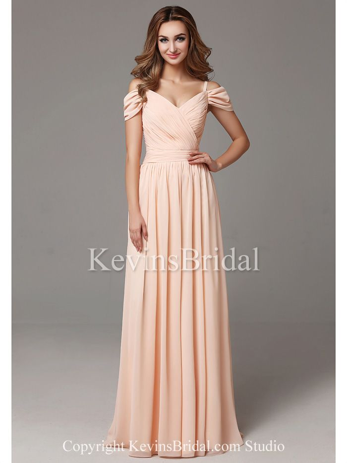 613792f2665 Spaghetti Strap Full Length Coral Off The Shoulder Elegant Chiffon Long  Bridesmaid Dress