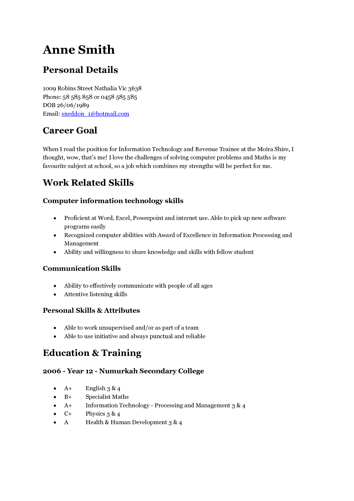 A Teenage  4Resume Examples  Resume examples Student resume Professional resume examples