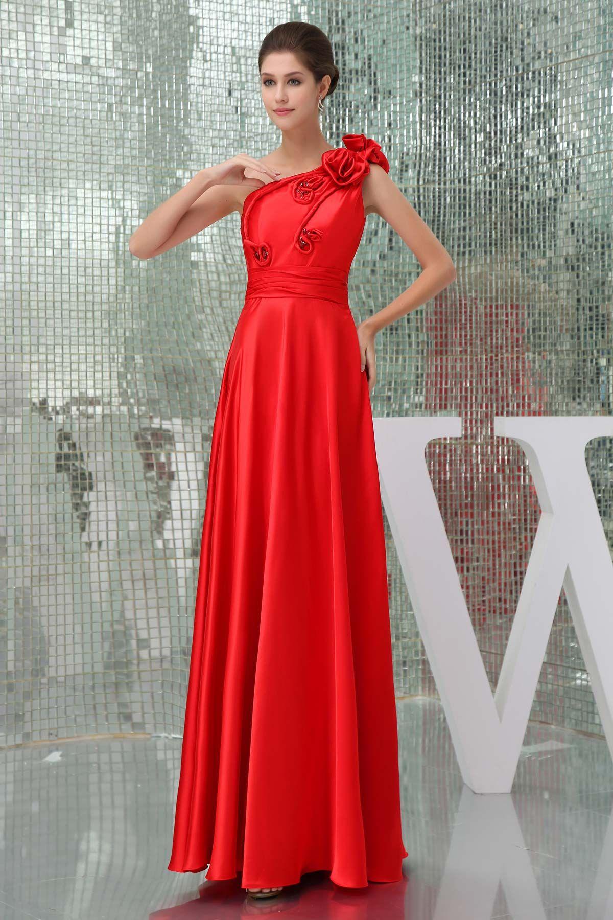 Red floorlength one shoulder satin mid back prom dress prom