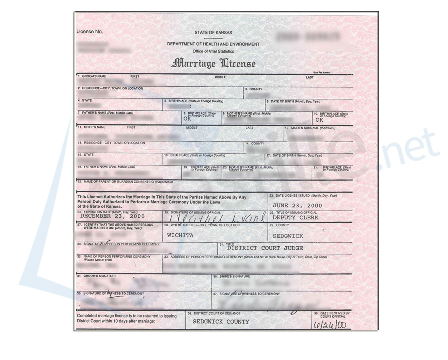 State of kansas marriage license issued by the deputy clerk of state of kansas marriage license issued by the deputy clerk of the district in sedgwick xflitez Images
