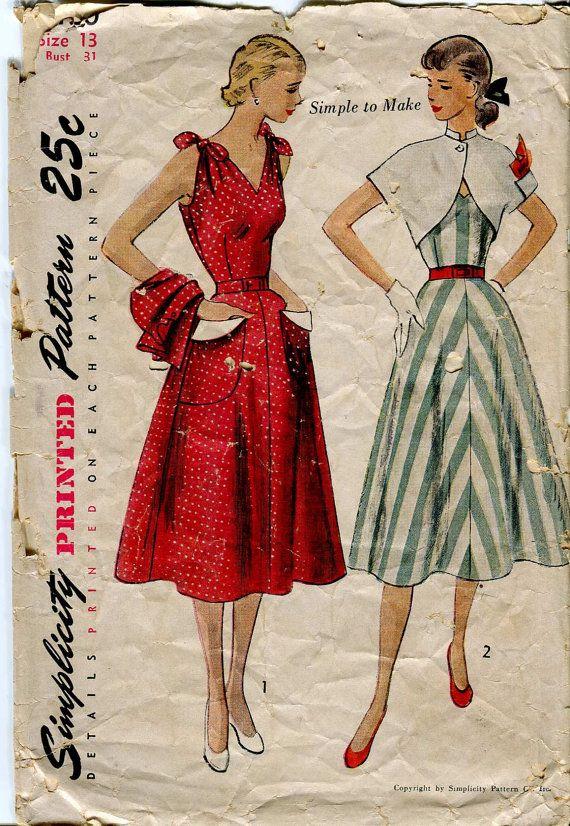 Simplicity 3490 Vintage 50s Sun Dress and Bolero Pattern | Pinterest ...