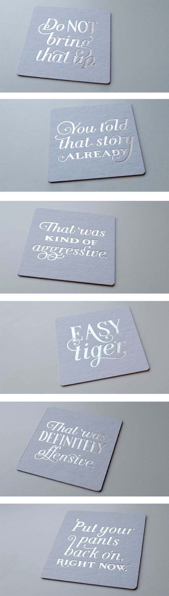 Silver foil always gets me ready for the season! https://squareup.com/market/spoolia-design-llc  Hand Lettered, Letterpress, Coasters, Gifts, Holiday, Spoolia Design, Typography, Silver Foil, Design