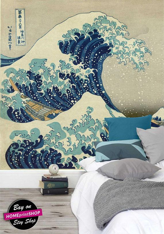Watercolor Painting Japan Abstract Replica Wallpaper Wall Art Decor Removable Self Adhesive Peel A Great Wave Fabric Shower Curtains Great Wave Off Kanagawa